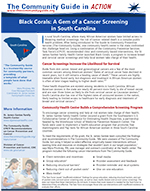 First page of the South Carolina Cancer Screening Community Guide in Action story